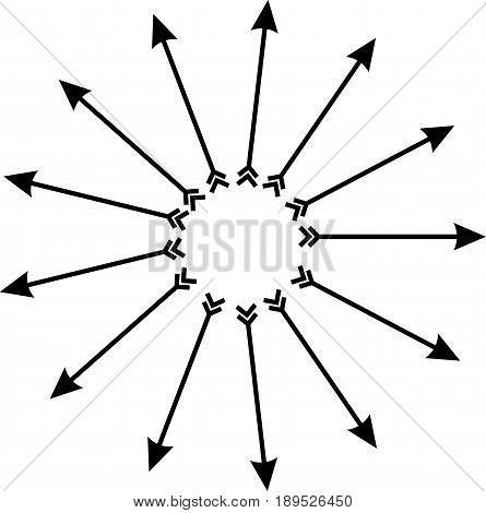 Radiating from the center of the arrow with arrowheads and feathers. Black and white icon. Vector illustration. Design element.