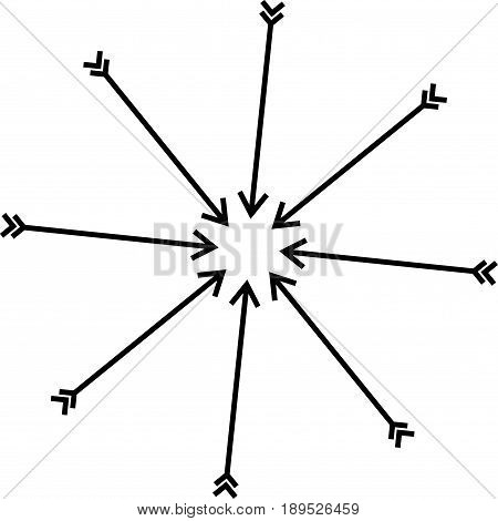 Converging to the center of the arrow with arrowheads and feathers. Black and white icon. Vector illustration. Design element.