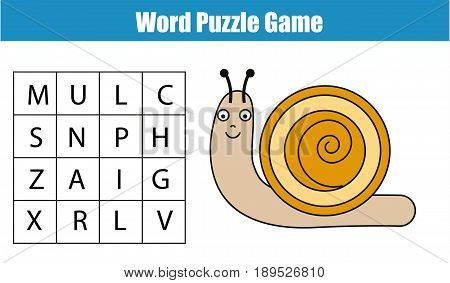 Educational children game. Word search puzzle kids activity. Animals theme. Learning vocabulary. Worksheet for pre school years