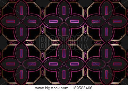 Abstract symmetrical pattern, vintage gold decor element geometric shapes oval-shaped purple-colored texture on a black background