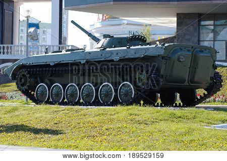 SARANSK, RUSSIA - CIRCA MAY, 2017: Rear view of a Infantry fighting vehicle in Saransk.