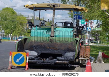 SARANSK, RUSSIA - MAY 20, 2017: Vogele asphalt paver on city street.