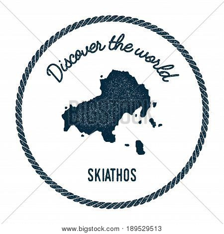 Skiathos Map In Vintage Discover The World Insignia. Hipster Style Nautical Postage Stamp, With Roun