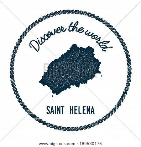 Saint Helena Map In Vintage Discover The World Insignia. Hipster Style Nautical Postage Stamp, With