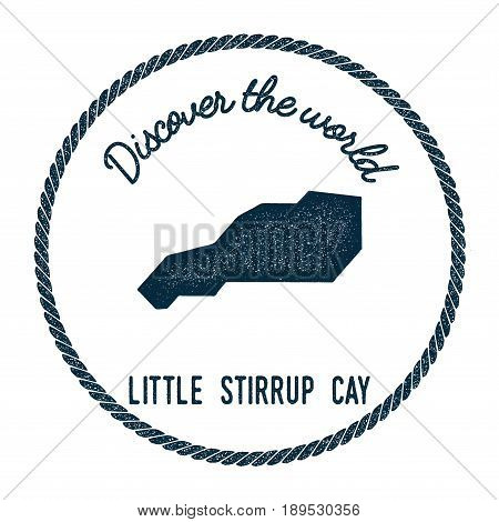 Little Stirrup Cay Map In Vintage Discover The World Insignia. Hipster Style Nautical Postage Stamp,
