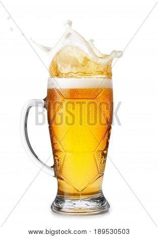 beer in mug with splashes foam isolated on white background. Beer splash