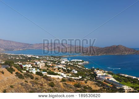 Panoramic view at Mirabello bay and town of Elounda, Crete. Greece