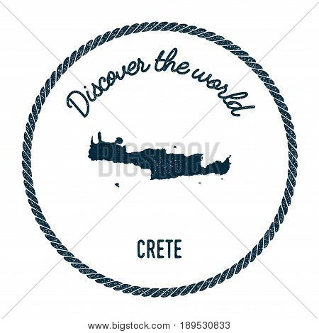 Crete Map In Vintage Discover The World Insignia. Hipster Style Nautical Postage Stamp, With Round R