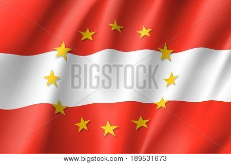 Austria national flag with a circle of European Union twelve gold stars, identity and unity with EU, member since 1 January 1995. Realistic vector style illustration