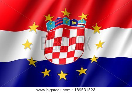 Croatia national flag with a circle of European Union twelve gold stars, political and economic union with EU, member since 1 July 2013. Realistic vector style illustration