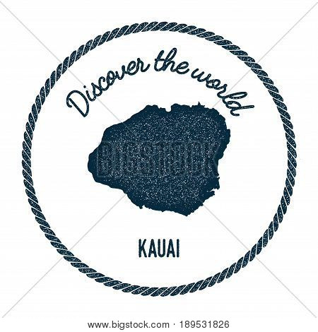 Kauai Map In Vintage Discover The World Insignia. Hipster Style Nautical Postage Stamp, With Round R