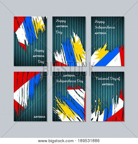 Antigua Patriotic Cards For National Day. Expressive Brush Stroke In National Flag Colors On Dark St