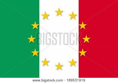 Italy national flag with a circle of European Union twelve gold stars, symbol of unity with EU, member since 1 January 1958. Vector flat style illustration