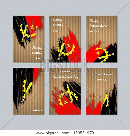 Angola Patriotic Cards For National Day. Expressive Brush Stroke In National Flag Colors On Kraft Pa