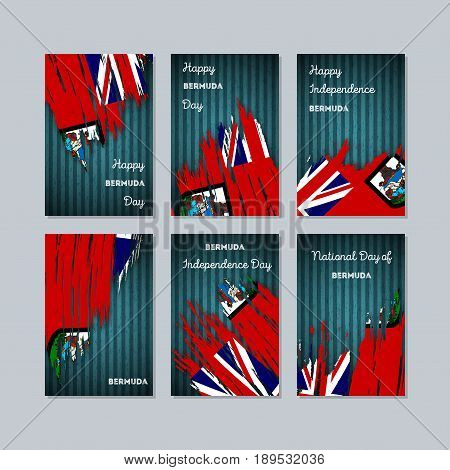 Bermuda Patriotic Cards For National Day. Expressive Brush Stroke In National Flag Colors On Dark St