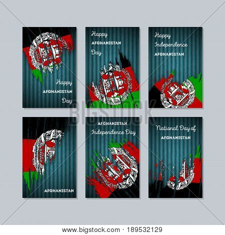 Afghanistan Patriotic Cards For National Day. Expressive Brush Stroke In National Flag Colors On Dar