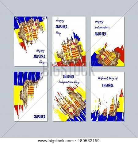Andorra Patriotic Cards For National Day. Expressive Brush Stroke In National Flag Colors On White C