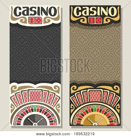 Vector vertical banners for Casino: 2 layouts with golden roulette wheel, seven playing card with red back, pair dice for craps, invite tickets for casino club with abstract background for title text