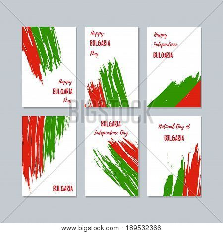 Bulgaria Patriotic Cards For National Day. Expressive Brush Stroke In National Flag Colors On White