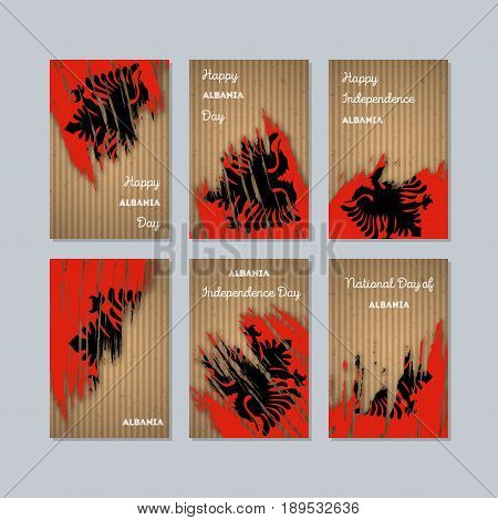 Albania Patriotic Cards For National Day. Expressive Brush Stroke In National Flag Colors On Kraft P