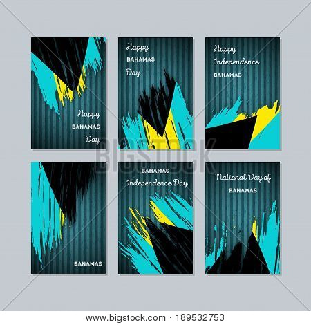 Bahamas Patriotic Cards For National Day. Expressive Brush Stroke In National Flag Colors On Dark St