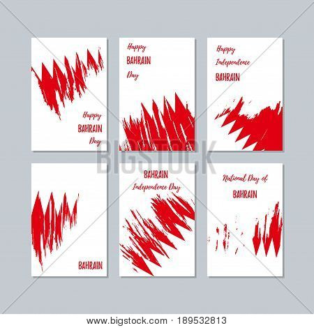 Bahrain Patriotic Cards For National Day. Expressive Brush Stroke In National Flag Colors On White C