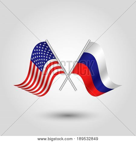 vector two crossed american and russian flags on silver sticks - symbol united states of america and russia