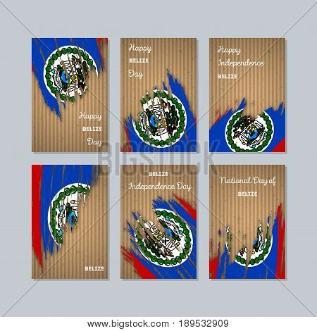 Belize Patriotic Cards For National Day. Expressive Brush Stroke In National Flag Colors On Kraft Pa