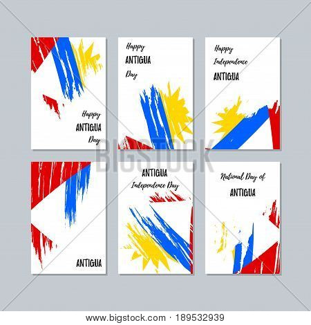 Antigua Patriotic Cards For National Day. Expressive Brush Stroke In National Flag Colors On White C