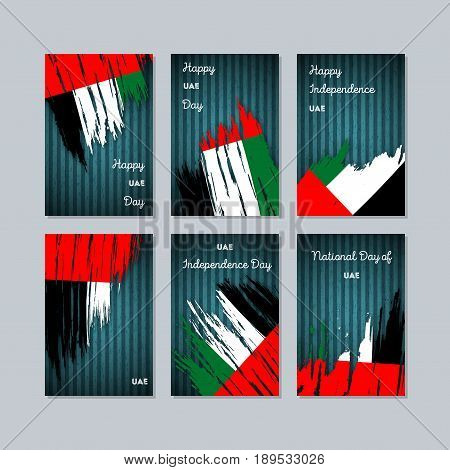 Uae Patriotic Cards For National Day. Expressive Brush Stroke In National Flag Colors On Dark Stripe