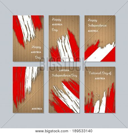 Austria Patriotic Cards For National Day. Expressive Brush Stroke In National Flag Colors On Kraft P