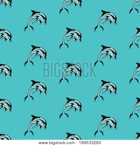 Seamless texture of dolphins the dolphins on a blue background the background for printing on fabric wallpaper fully editable vector images