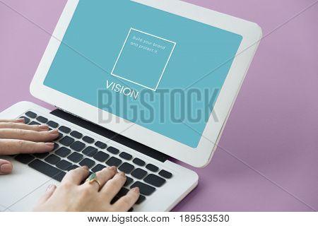 Illustration of identity branding business trademark on laptop