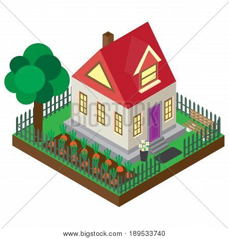 The private house in an isometric projection. A vector picture of the private country house isolated on a white background