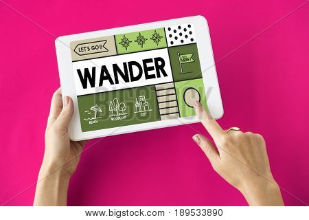 Wander wanderlust travel outdoors graphic