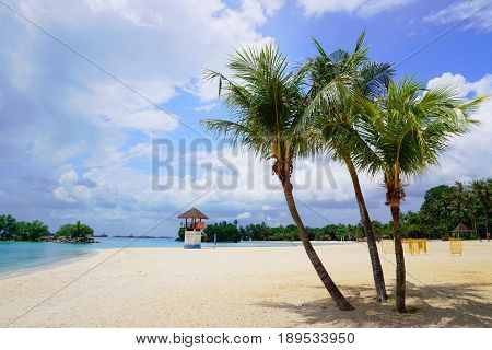Sunny Tanjong Beach of Sentosa Island in Singapore.