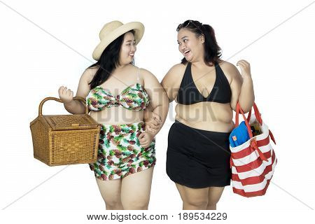 Two fat women carrying picnic basket and beach item on hand bag isolated on white background