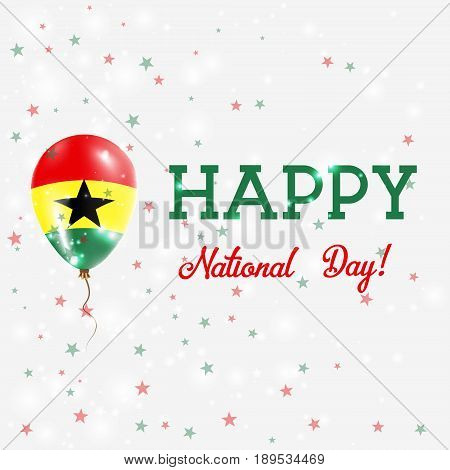 Ghana National Day Patriotic Poster. Flying Rubber Balloon In Colors Of The Ghanaian Flag. Ghana Nat