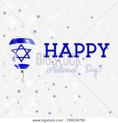 Israel National Day Patriotic Poster. Flying Rubber Balloon In Colors Of The Israeli Flag. Israel Na