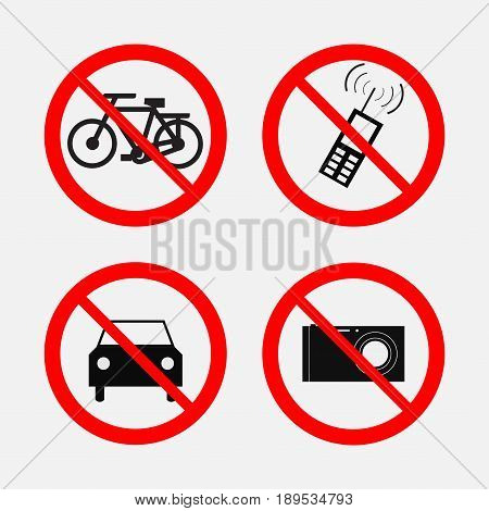 a set of prohibition signs travel foto cell prohibited passers prohibited fully editable vector image