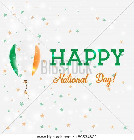 Ireland National Day Patriotic Poster. Flying Rubber Balloon In Colors Of The Irish Flag. Ireland Na