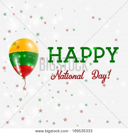 Lithuania National Day Patriotic Poster. Flying Rubber Balloon In Colors Of The Lithuanian Flag. Lit