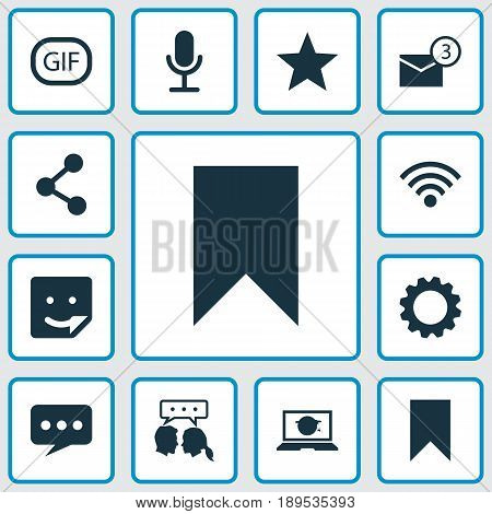 Internet Icons Set. Collection Of Wireless Connection, Chat, Publish And Other Elements. Also Includes Symbols Such As Setting, Web, Smile.