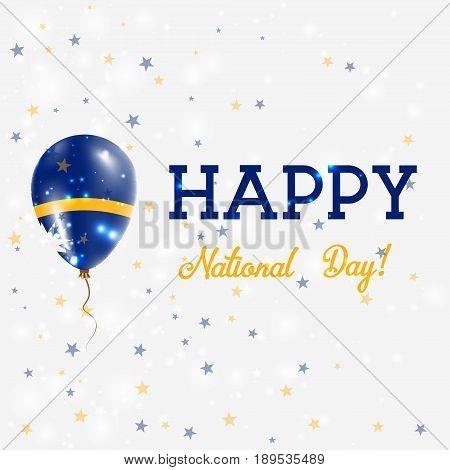 Nauru National Day Patriotic Poster. Flying Rubber Balloon In Colors Of The Nauruan Flag. Nauru Nati