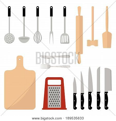 Kitchen utensils set. Kitchenware, kitchen tools collection. There is a kitchen rolling pin, a meat hammer, a cutting board, a grater, five different knives and other items. Vector flat illustration.