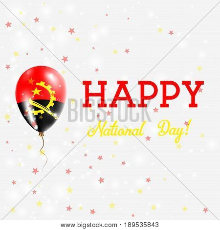 Angola National Day Patriotic Poster. Flying Rubber Balloon In Colors Of The Angolan Flag. Angola Na