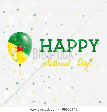 Guiana National Day Patriotic Poster. Flying Rubber Balloon In Colors Of The Guiana Flag. Guiana Nat