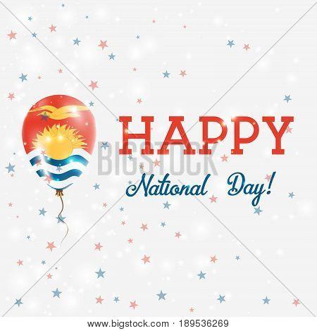 Kiribati National Day Patriotic Poster. Flying Rubber Balloon In Colors Of The I-kiribati Flag. Kiri