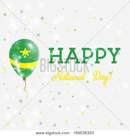 Mauritania National Day Patriotic Poster. Flying Rubber Balloon In Colors Of The Mauritanian Flag. M