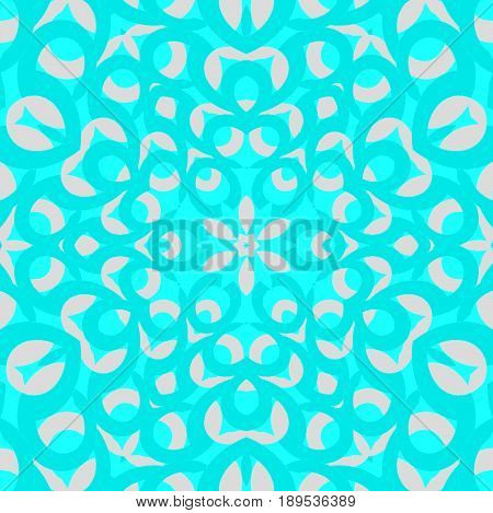 Abstract geometric background. Regular ornament with ellipses in turquoise shades on light gray centered.